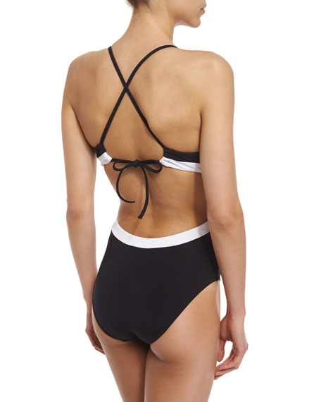 Image 2 of 2: Classique Contrast Lace-Front One-Piece Swimsuit