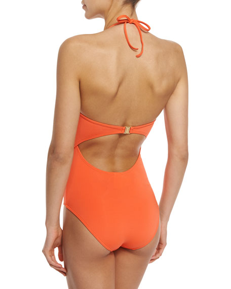 Illuminate Plunging Lace-Up Front One-Piece Swimsuit