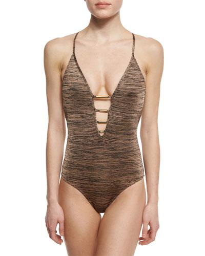 Melange Plunge-Neck One-Piece Swimsuit