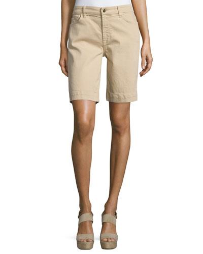 Stretch-Cotton Bermuda Shorts, Almond