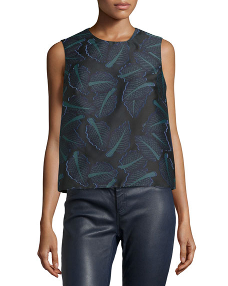 Opening Ceremony Chard Leaf-Print Shell, Black/Multi
