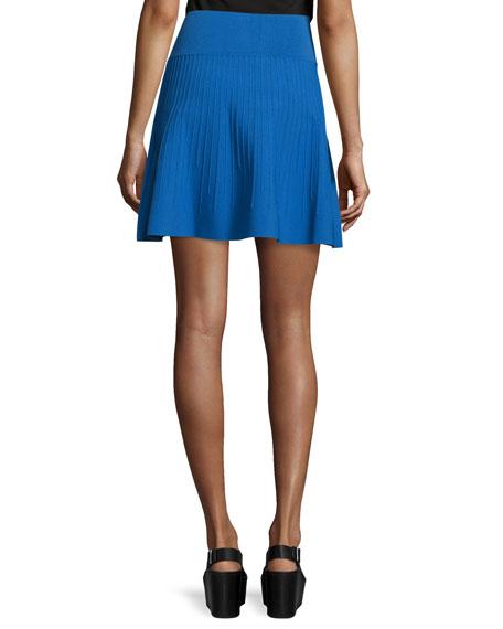 Vertical-Stitch Flare Skirt, Blue Currant