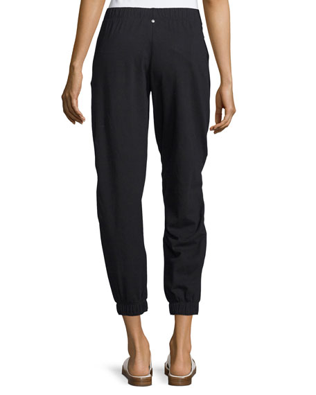 Rhonda Gathered-Ankle Jogger Pants, Black