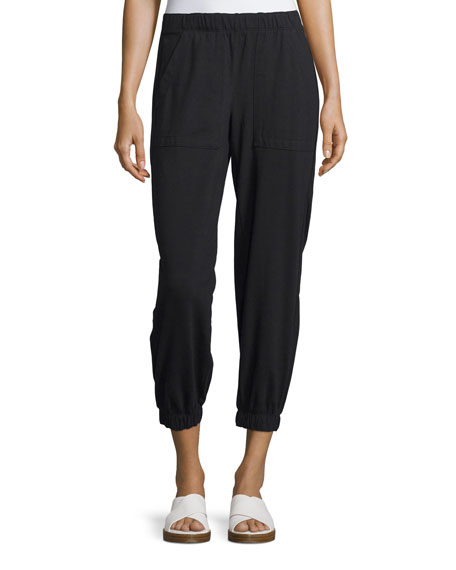 Rhonda Gathered-Ankle Jogger Pants, Black