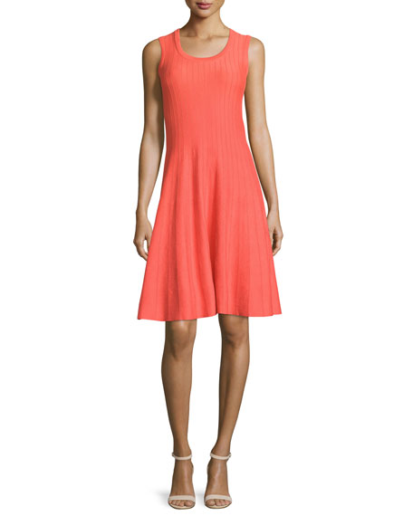 NIC+ZOE Twirl Sleeveless Knit Dress, Hot Coral