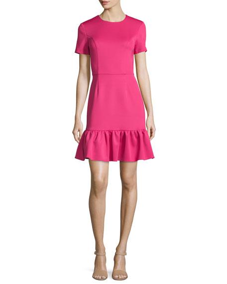 Lotus Drop Short-Sleeve Flounce Dress, Raspberry