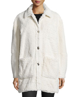 Faux-Sherpa Button-Front Coat, Cream