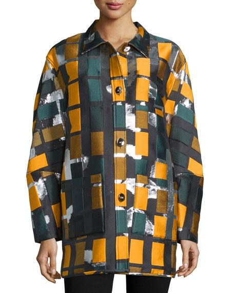 Button-Front Geometric-Print Coat, Black/Multi