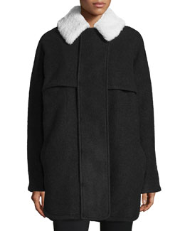 Morgane Long-Sleeve Layered Coat, Black