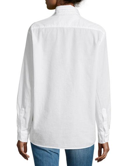 Eileen Button-Front Poplin Shirt, White