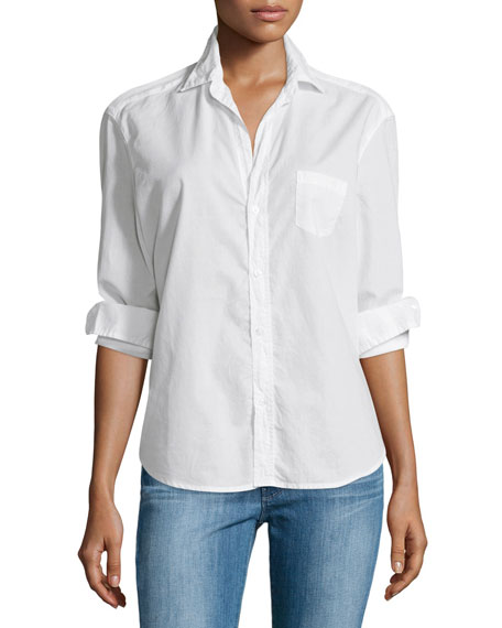 Frank & Eileen Eileen Button-Front Poplin Shirt, White