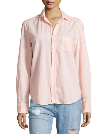 Eileen Button-Front Poplin Shirt, Tangerine
