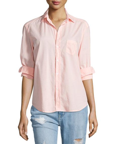 Frank & Eileen Eileen Button-Front Poplin Shirt, Tangerine