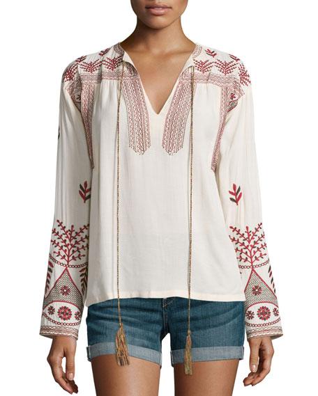 MISA Los Angeles Luna Long-Sleeve Embroidered Top, Beige