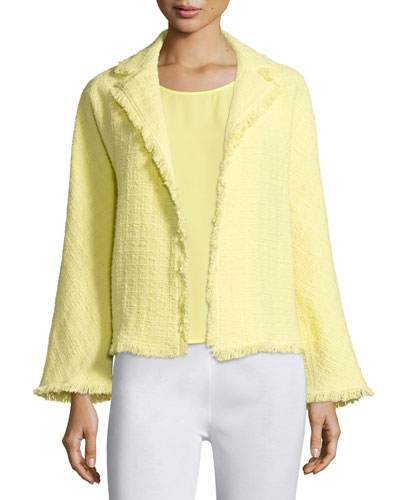 Boucle Jacket with Fringe Trim