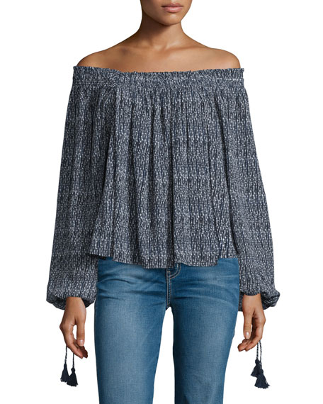 Apiece ApartGlorieta Off-The-Shoulder Top, Navy Cactus Stripe