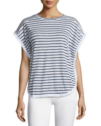 Beau Fringe-Trim Striped Top, Stripe