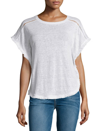 Beau Fringe-Trim Top, White