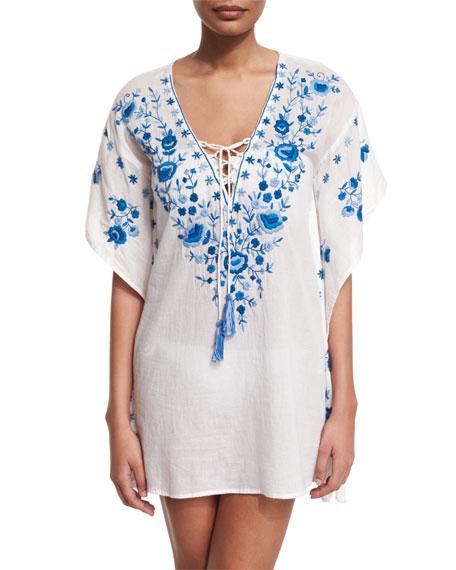 LetartePebble Floral-Embroidered Caftan Coverup