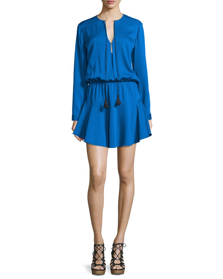 Karina Grimaldi Pilar Long-Sleeve Split-Neck Dress, Classic Blue