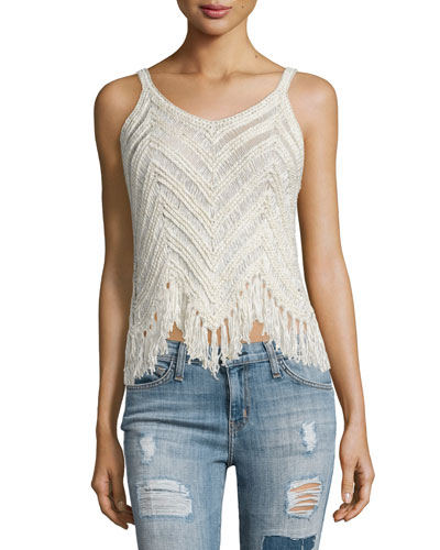 Adelina Chevron-Knit Fringe Tank, Cream