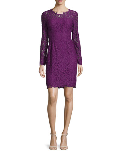 Bellamy Lace Long-Sleeve Dress, Garnet