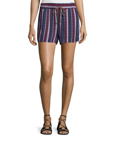 Beachcomber Striped Shorts, Fiery Red/Navy