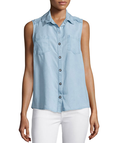 Sleeveless Button-Front Chambray Top, Light Blue