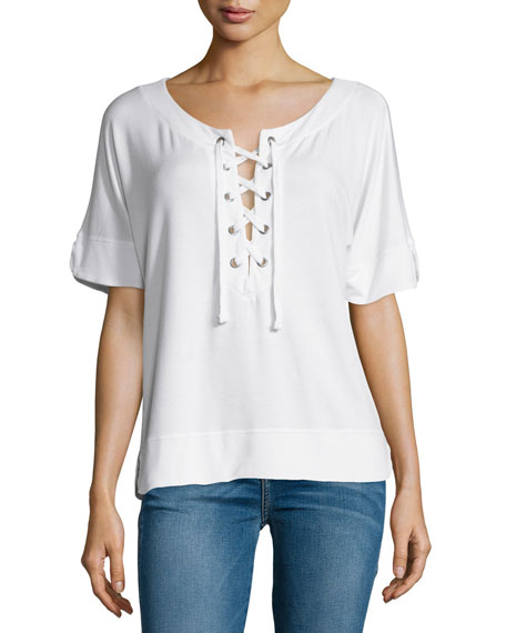 Splendid Cozy Short-Sleeve Lace-Up Top, White