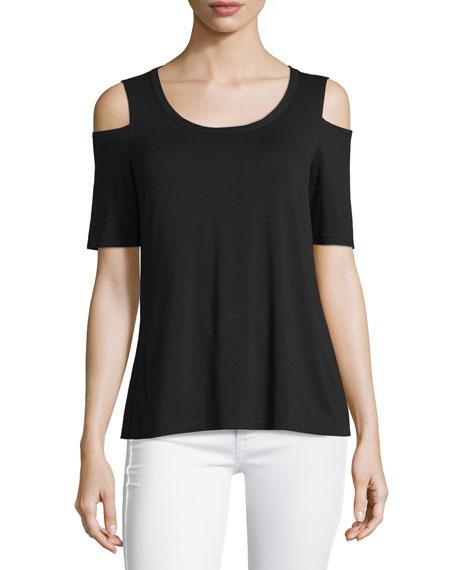 Splendid Cold-Shoulder Short-Sleeve Top, Black