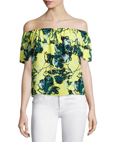 Suzie Off-The-Shoulder Top, Tropical Floral
