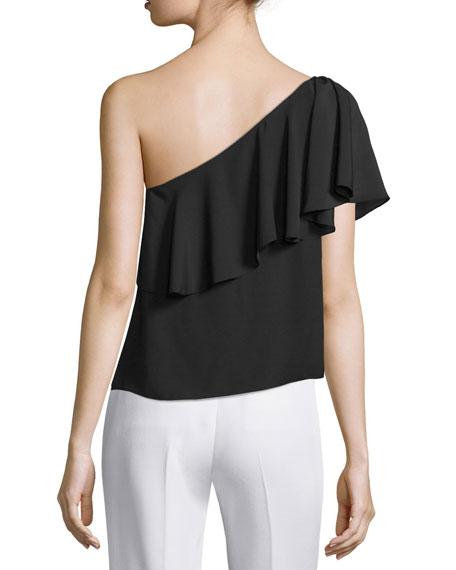 Zoe One-Shoulder Ruffle Top, Black