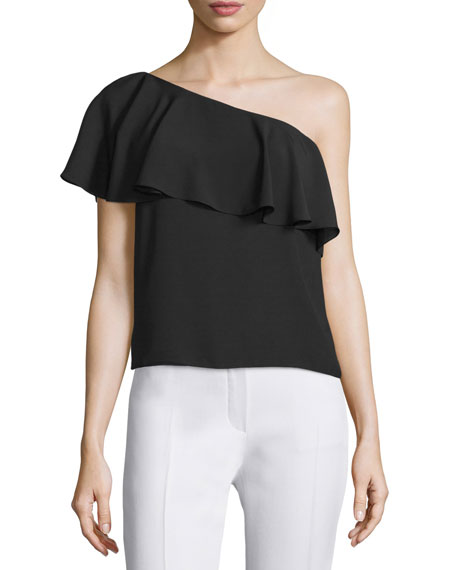 Amanda Uprichard Zoe One-Shoulder Ruffle Top, Black