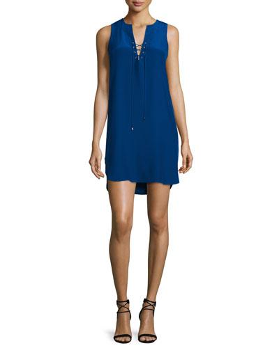 Michaela Sleeveless Lace-Up Dress, Sapphire