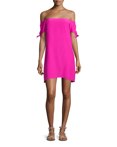 Desiree Off-The-Shoulder Shift Dress, Hot Pink