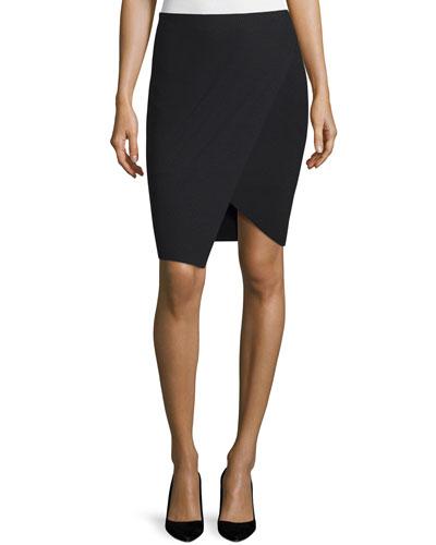 Souk Faux-Wrap Pencil Skirt, Black