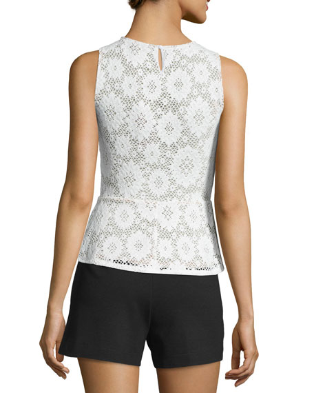 Annica Sleeveless Lace Peplum Top, White
