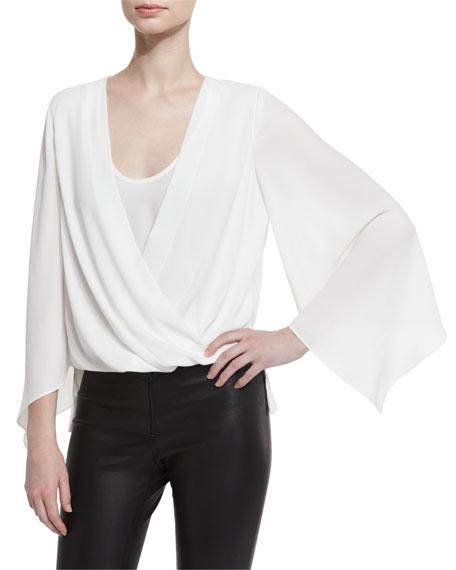 BCBGMAXAZRIA Nicklette Bell-Sleeve Draped Top, Off White