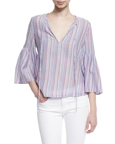 BCBGMAXAZRIA 3/4-Sleeve Skinny-Striped Top, Blue/Red/Multi