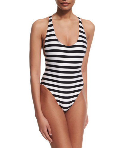 Striped Cross-Back One-Piece Swimsuit