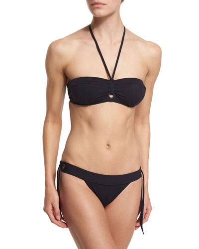 Tie-Front Solid Two-Piece Swimsuit, Black