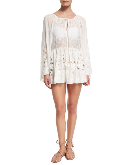 Zimmermann Harlequin Broderie Embroidered Eyelet Coverup Dress