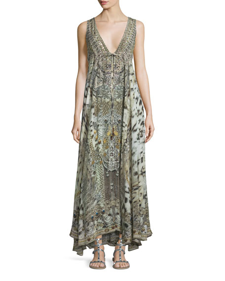 Camilla Embellished V-Neck Maxi Dress, Espiritu