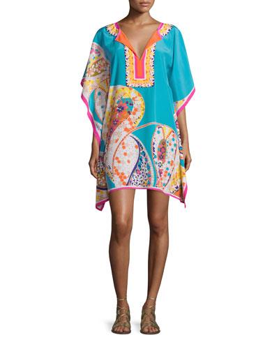 Multi-Printed Butterfly-Sleeve Printed Caftan Dress