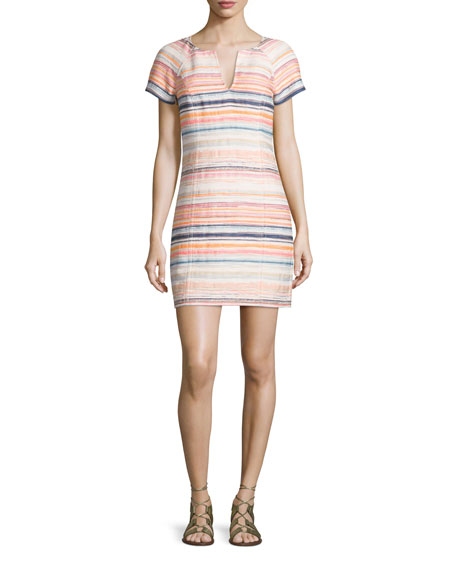 Trina Turk Short-Sleeve Split-Neck Striped Sheath Dress