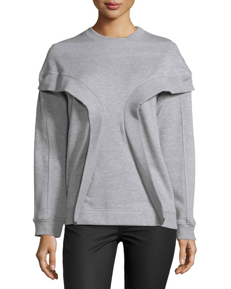 Opening Ceremony Long-Sleeve Rib-Inset Pullover, Melange Gray