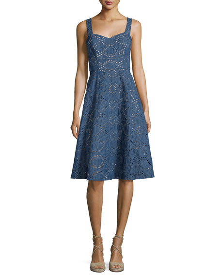 Shoshanna Chambray Sleeveless Eyelet Dress, Denim