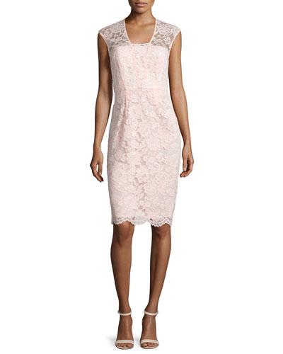 Lace Cap-Sleeve Sheath Dress, Blush