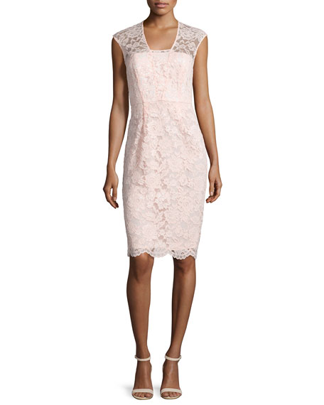 Shoshanna Lace Cap-Sleeve Sheath Dress, Blush