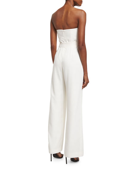 Strapless Sweetheart Belted Jumpsuit